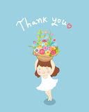 Flowers girl gift for you vector illustration Royalty Free Stock Photos