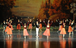 Flowers and girl surrounded by Prince-ballet Swan Lake Stock Images