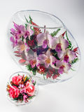 Flowers in a glass aquarium Royalty Free Stock Photography