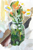 Flowers in a glass jar. Scan of original painting (I'm creator royalty free illustration