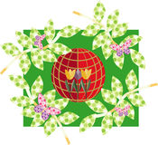 Flowers and the globe Royalty Free Stock Images