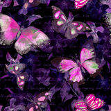 Flowers, glowing butterflies, hand written text note at black background. Watercolor. Seamless pattern vector illustration