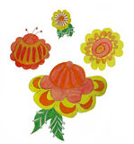 Flowers Gorodets painting. Children's artwork Stock Photos