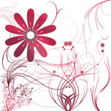 Flowers with gradient. In red/white/gray stock illustration
