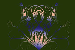 Flowers with gradient. In green/gray/blue vector illustration