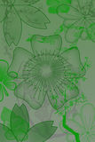 Flowers with gradient. In green/gray stock illustration