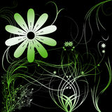 Flowers with gradient. In green/white/gray stock illustration
