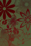 Flowers with gradient. In green/red vector illustration