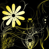 Flowers with gradient. In white/yellow royalty free illustration