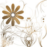 Flowers with gradient. In brown/white vector illustration