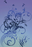 Flowers with gradient. In blue/gray royalty free illustration