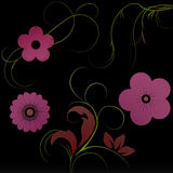 Flowers with gradient. In green/red/violet vector illustration