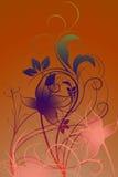 Flowers with gradient. In green/violet/beige/blue/orange royalty free illustration