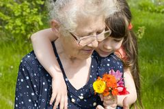 Flowers for grandma Royalty Free Stock Image