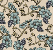 Flowers. Grapes. Beautiful background from leaves. Stock Photo