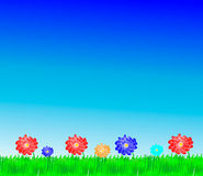 Flowers and grass. Bright, natural background with the fresh grass and field flowers Royalty Free Stock Photo
