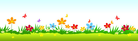 Flowers and grass stock illustration