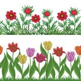 Flowers and grass, set seamless Stock Image