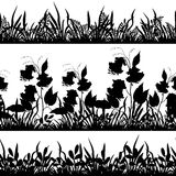 Flowers and grass silhouette, set seamless Stock Images