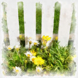 Flowers and grass at white fence. Imitation of drawing. Royalty Free Stock Image