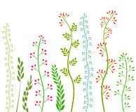 Flowers and Grass on White Grassland Collection Vector Image.  Royalty Free Stock Photo