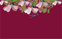 Flowers and grasshopper banner, vector illustration wings stock illustration
