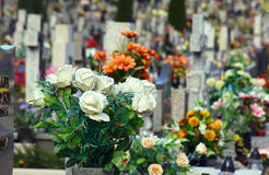 Flowers on the grave Royalty Free Stock Image