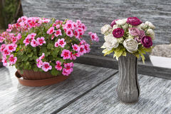 Flowers for grave decoration Stock Image