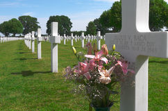 Flowers on a grave of a fallen U.S. soldier. Stock Images