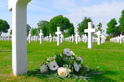 Flowers on a grave of a fallen U.S. soldier. Royalty Free Stock Photography