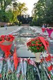 Flowers on the Great Patriotic War Monument. Park of 28 Panfilov Guardsmen. Almaty. Kazakhstan royalty free stock image