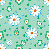 Flowers on green background. Colorful flowers on a green background, seamless pattern Stock Illustration