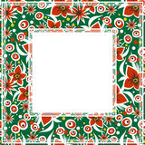 Flowers green border. Abstract border with red flowers on a green background Stock Photography