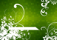 Flowers_on_green_checkered_backgrounds Photo libre de droits