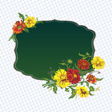 Flowers and green frame Royalty Free Stock Images