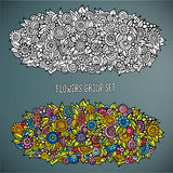 Flowers group set in different of color. Vector abstract drawing flowers group set in different of color Stock Photography