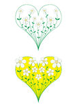 Flowers growing heart. The flowers melting in heart Stock Photo