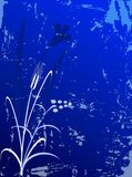 Flowers - grunge background. Blue grunge background with flower and leaves Royalty Free Stock Image