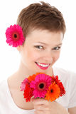 Flowers in hair Stock Images