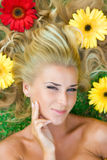 Flowers in hair Royalty Free Stock Photography