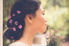 Flowers in hair Stock Photo