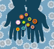 Flowers in a hand !. Illustration of Flowers in a hand Royalty Free Stock Photography