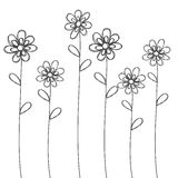 Flowers hand drawn black  vector for background or card Stock Photo