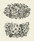 Flowers. Hand drawn sketch flower, roses, geranium, floral pattern. Vector illustration Royalty Free Stock Images