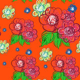 Flowers hand drawn. Vector seamless pattern Stock Photography