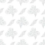 Flowers hand drawn on white background. Hand drawn seamless orna Stock Images