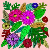 FLOWERS&LEAVES ON SHINY COLOURFUL TONES royalty free illustration