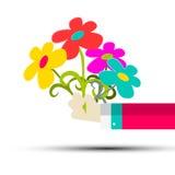 Flowers in Hand Vector Stock Photo
