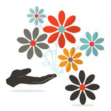 Flowers In Hand Vector. On White Background Royalty Free Stock Images