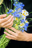 Flowers and hands Stock Photo